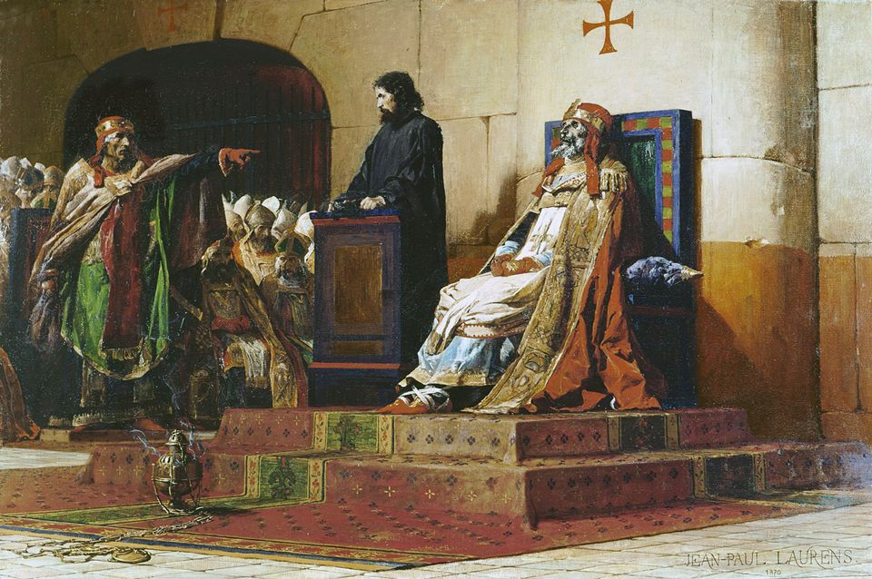 Anticlerical: Jean-Paul Laurens painted Pope Formosus and Stephen VII (1870) as a historic pointer to the church' s backwardness and barbarity
