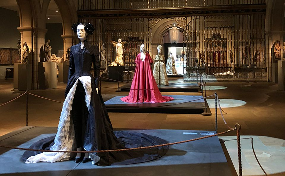 Installation view of Heavenly Bodies: Fashion and the Catholic Imagination at the Metropolitan Museum of Art