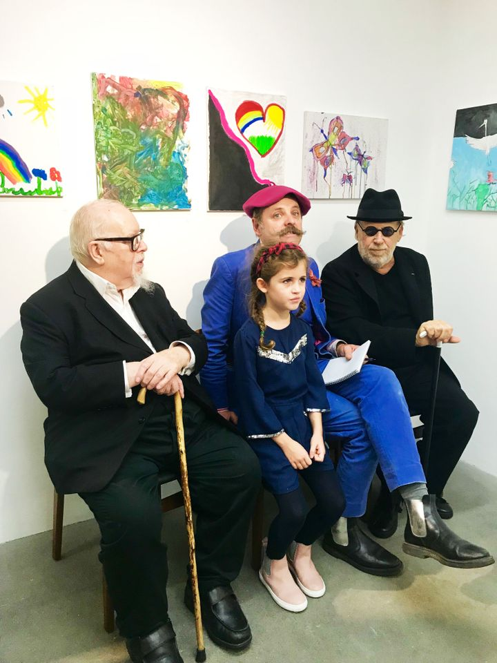 Peter Blake, Joseph Kosuth and Gavin Turk with Alison Jacques' altruistic seven-year-old daughter Eliana Jacques-Conway