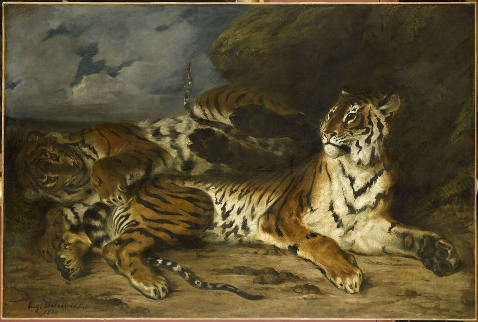 Eugène Delacroix, Young Tiger Playing with Its Mother (1830)