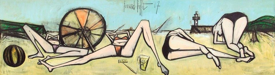 """A gargantuan 1960s mural by Bernard Buffet is making waves at La Biennale Paris. Buffet was enraptured by the resort of Saint-Cast-le-Guildo in northwestern France and he made a series of scenic works inspired by the seaside spot including the painting on show at the fair, priced at €2m. Buffet was as famous as Picasso in the 1950s but fell out of favour commercially and critically. The late French artist is now undergoing something of a renaissance; in 2016, a major retrospective of the Paris-born artist's works was held at the Musée d'Art Moderne de la Ville de Paris. """"His work has been criticised, the art world rejected him, and I include myself in that,"""" Fabrice Hergott, the museum director, told French press. The work comes from a private collection."""