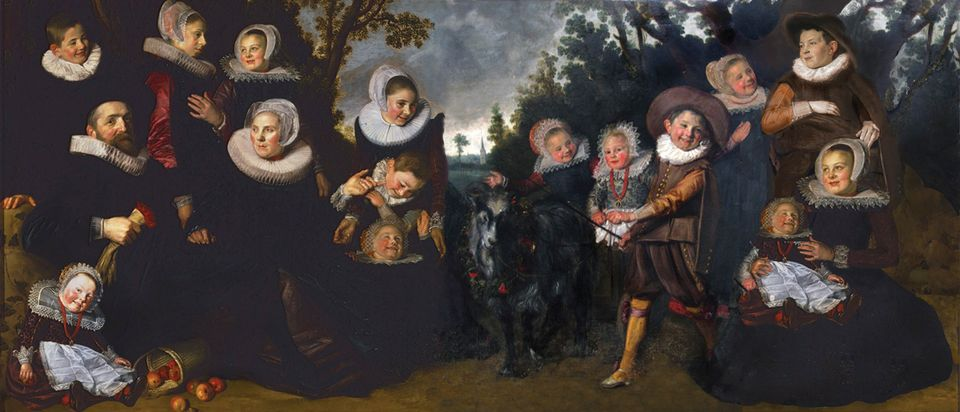 A mock-up of how Hals's portrait might have originally looked, including two imagined figures (lower right) of the missing children. Scholars believe that it was cut up in the early 19th century, possibly because of damage to the original work. A head was revealed while the Brussels painting was being cleaned, leading to confirmation that the three works were linked