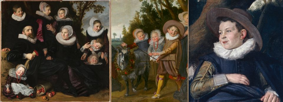 Van Campen Family Portrait in a Landscape (left, around 1623-25)—Frans Hals's painting of the parents and seven of their 14 children—is in the Toledo Museum of Art, Ohio