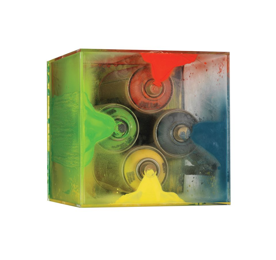 Ron Arad's work; each artist's starting-point was a Perspex cube