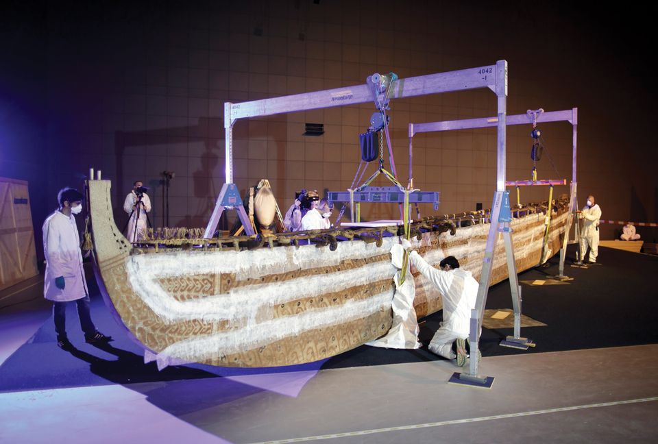 A boat from the Pacific Island of Luf that is one of the first objects to move in to the venue