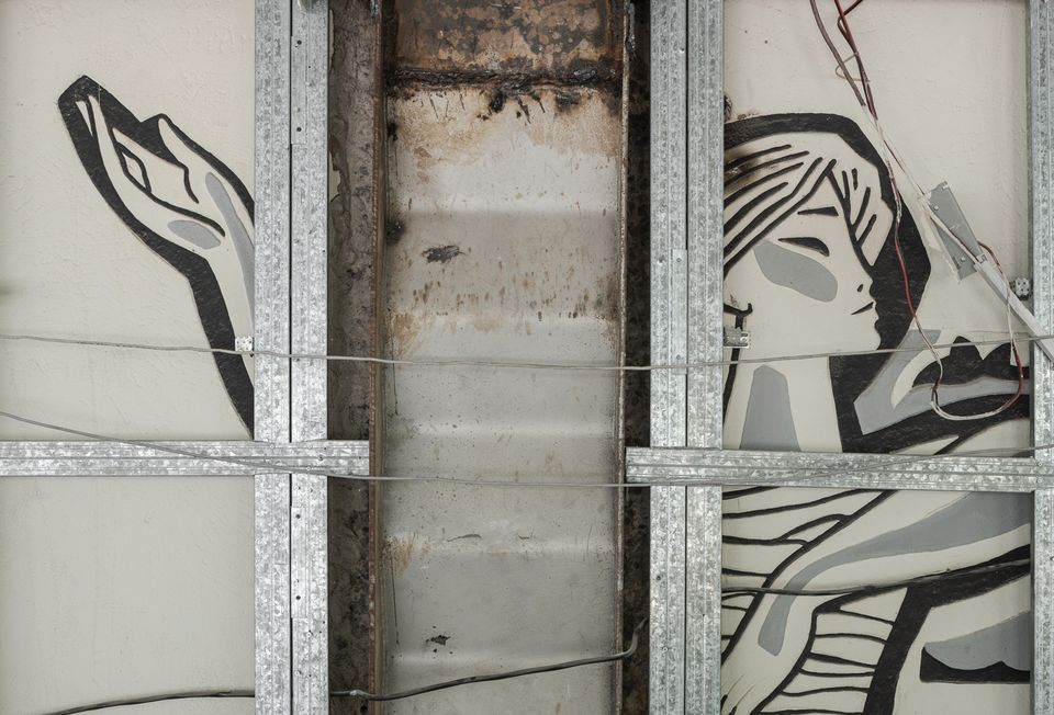 A detail from Evgeny Sidorkin's sgraffito