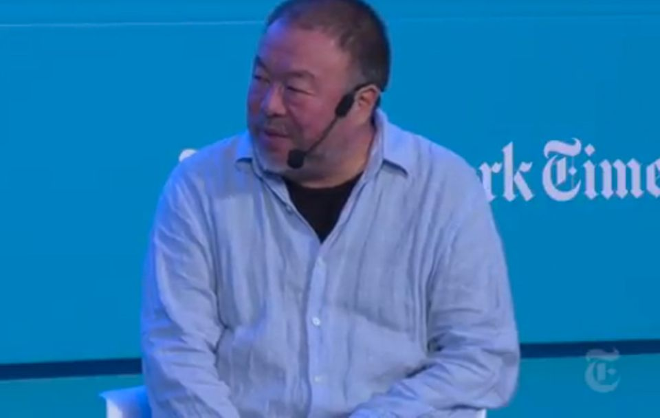 Ai Weiwei speaks at the Athens Democracy Forum 2018