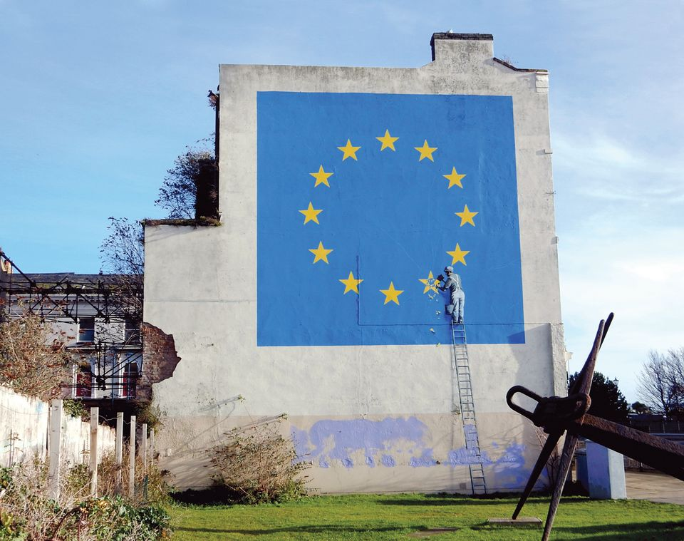 Banksy's anti-Brexit mural in Dover, created in May 2017