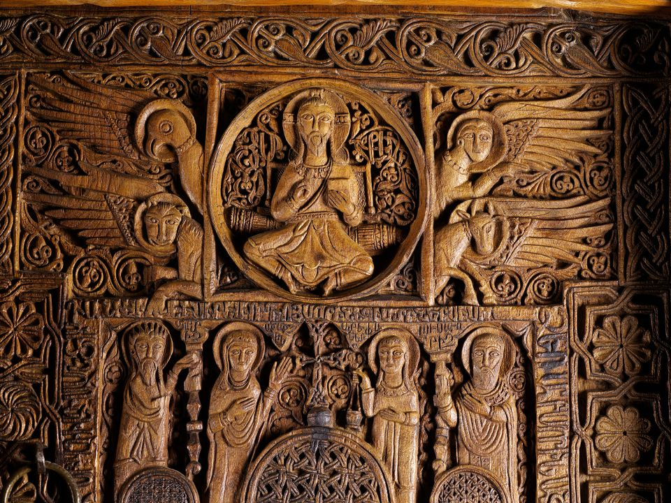 Detail of a carved door from the Church of the Holy Apostles at the Monastery of Sevan in Armenia