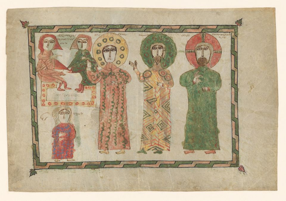 Folio from a gospel book depicting the discovery of Christ's empty tomb (1290-1330)