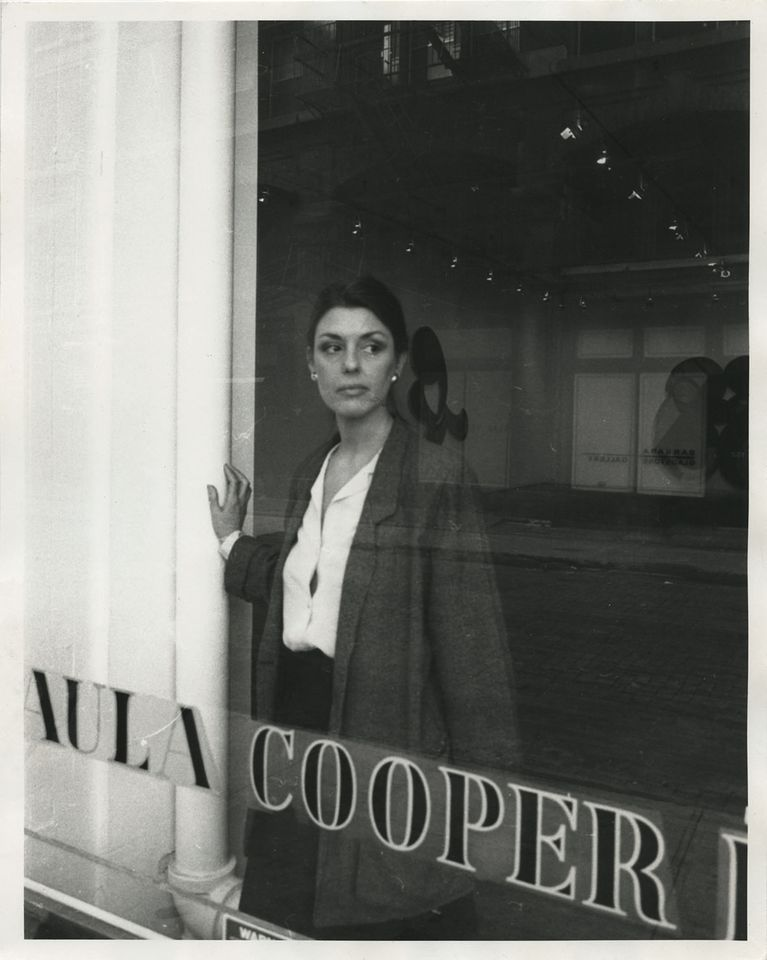 Paula Cooper at her gallery on Wooster Street, New York in 1983