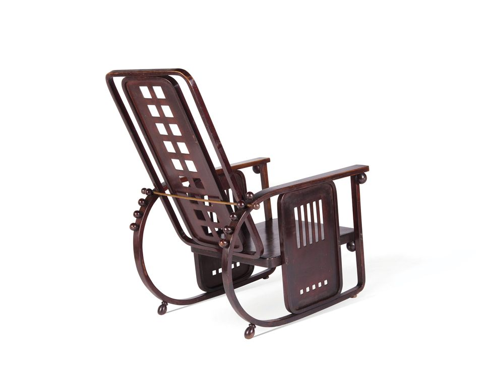 """Josef Hoffmann, Sitzmaschine armchair, produced by J&J Kohn (around 1907), Alexandre Guillemain at PAD London, 1-7 October, Around €26,000. The Sitzmaschine—literally, a machine for sitting—was designed by the Wiener Werkstätte co-founder Josef Hoffmann in 1905 for the Purkersdorf Sanatorium in Vienna, and has since become an emblem of Vienna Secession design. The reclining chair was designed to be easy to produce and, says the dealer Alexandre Guillemain, """"it is the first object to claim a functionalist approach. Its geometric forms and the simplicity of its conceptionpresage the founding principles of the Modern movement."""" This example is from the first edition – other chairs from the editionare in the collections of the V&A Museum, the Musée d'Orsay and Moma, among others."""