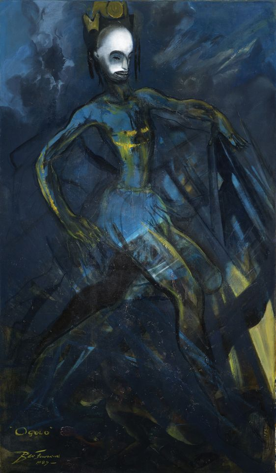 Benedict Chukwukadibia Enwonwu, Ogolo (1989), Africa Now, Bonhams, London, 4 October, estimate £200,000-£300,000. Considered the father of Nigerian Modernism, Enwonwu is well known for his monumental portraiture. Depicting a masked male figure, Ogolo was painted shortly after the death of the artist's brother, the funeral services for whom included a traditional masquerade ritual. The work is similar to the Spirit of Ogolo, which sold at Bonhams in 2016 for £218,500. That was, however, before Tutu (one of the artist's most significant portraits) appeared at the auction house in February. Though Tutu was estimated to fetch a price within the same range, it went for £1.2m to an unknown bidder, shattering the auction record for a work by any Nigerian Modernist and doubtless driving hopes upward for Ogolo.