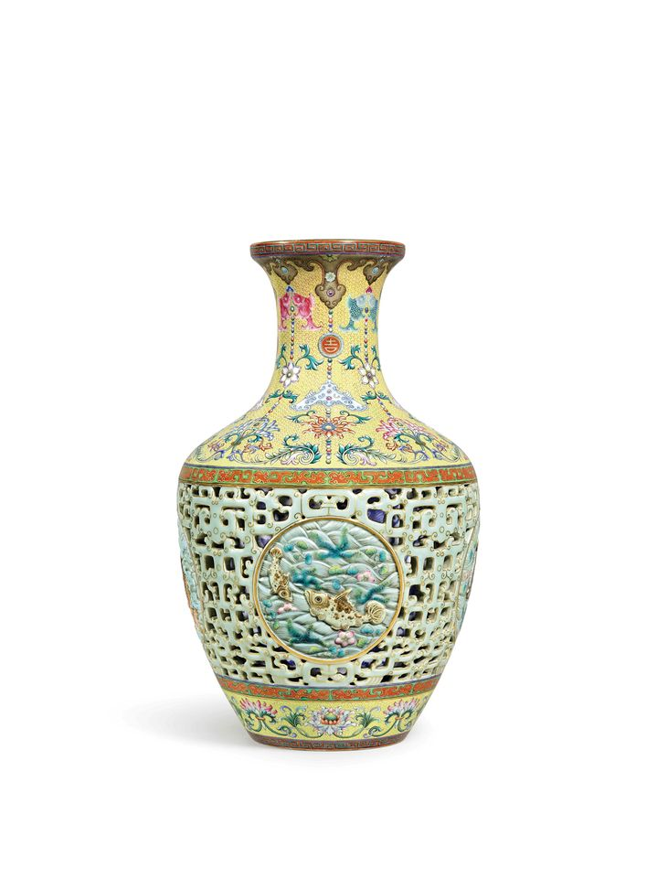 """The Yamanaka Reticulated Vase, Qianlong period (1736-95), Sotheby's, Hong Kong, 3 October: Chinese Works of Art, estimate HK$50m-$70m (US$6.4m-$9m). This Chinese porcelain vase—made by Tang Ying, the famous superintendent of the Jingdezhen kilns—is the pair to that sold for a record £43m at the small auction house Bainbridges on the outskirts of London in 2010. Except that vase was never paid for – it was eventually sold privately for half that amount through Bonhams. Hence the cautious estimate here, although Sotheby's Nicolas Chow says this is """"a strategy… in order to generate the most competition."""" He expects it """"to fetch multiples of the estimate."""" Named after the firm of Yamanaka & Co, which sourced objects in China for galleries in the West, the vase was bought by a Japanese collector in 1924 and has not been for sale since."""