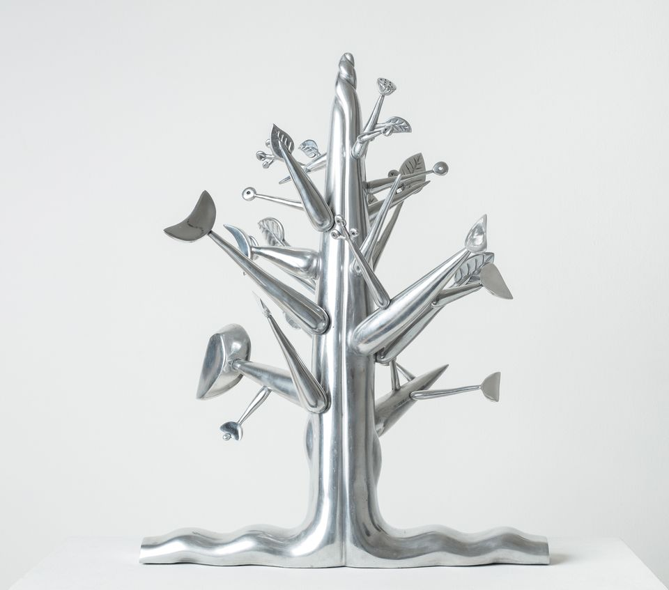 """Ibrahim El-Salahi,  Meditation Tree (2018). Vigo Gallery, 1-54 Contemporary African Art Fair, London, 4-7 October £55,000. This aluminium sculpture by the Sudanese artist Ibrahim El-Salahi is modelled after the Haraz tree, an acacia native to Sudan that appears frequently in the artist's work. In the catalogue of his solo exhibition at the Tate Modern in 2013, the artist writes that the Haraz tree """"through all, remains steadfast, silently watching over the passage of seasons and time"""". During the fair, the artist will also present his first public work of art, a piece that expands on the theme of the Haraz tree. Last year, a portrait of a Sudanese man made the artist's auction record, fetching €87,500 (€15,000-€20,000) at Ader auction house."""