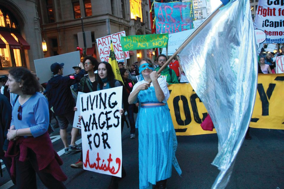 Artists demonstrated for better wages at a 2012 May Day rally in New York