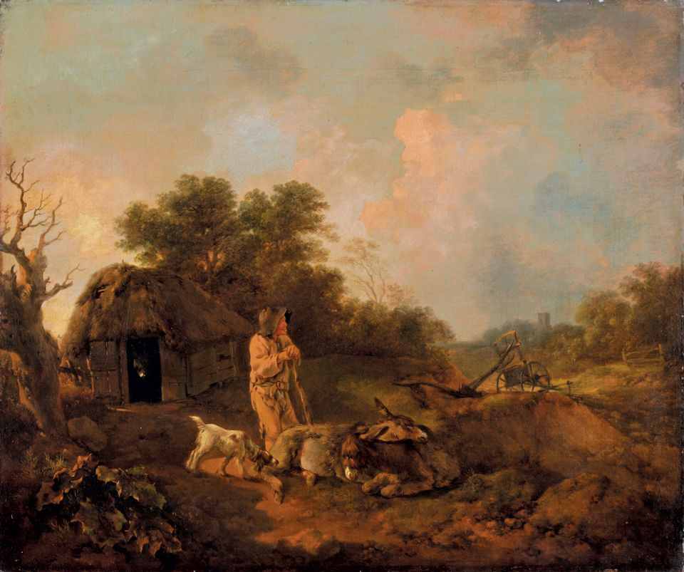 Gainsborough's Wooded Landscape with Old Peasant and Donkeys, outside a Barn, Ploughshare and Distant Church (around 1755). The work is in the exhibition opening in Sudbury this month