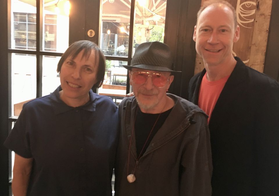 Polly Apfelbaum, Graham Parker (wearing his bead) and the artist Jeff McMillan