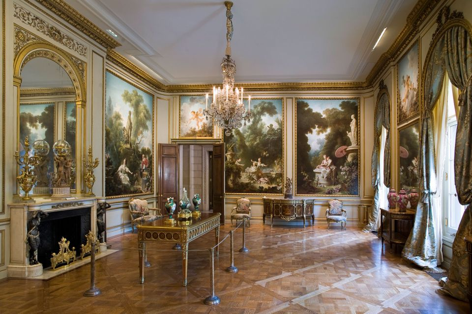 The Fragonard Room in the Frick Collection's 1914 stately mansion in New York