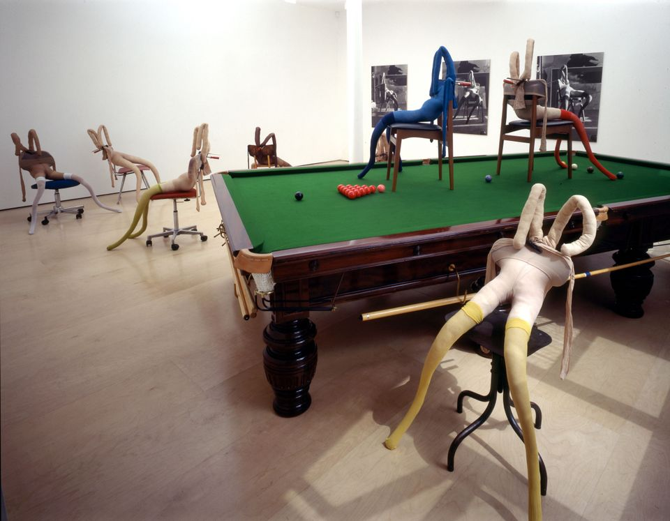 Sarah Lucas: Bunny Gets Snookered exhibition view (1997)
