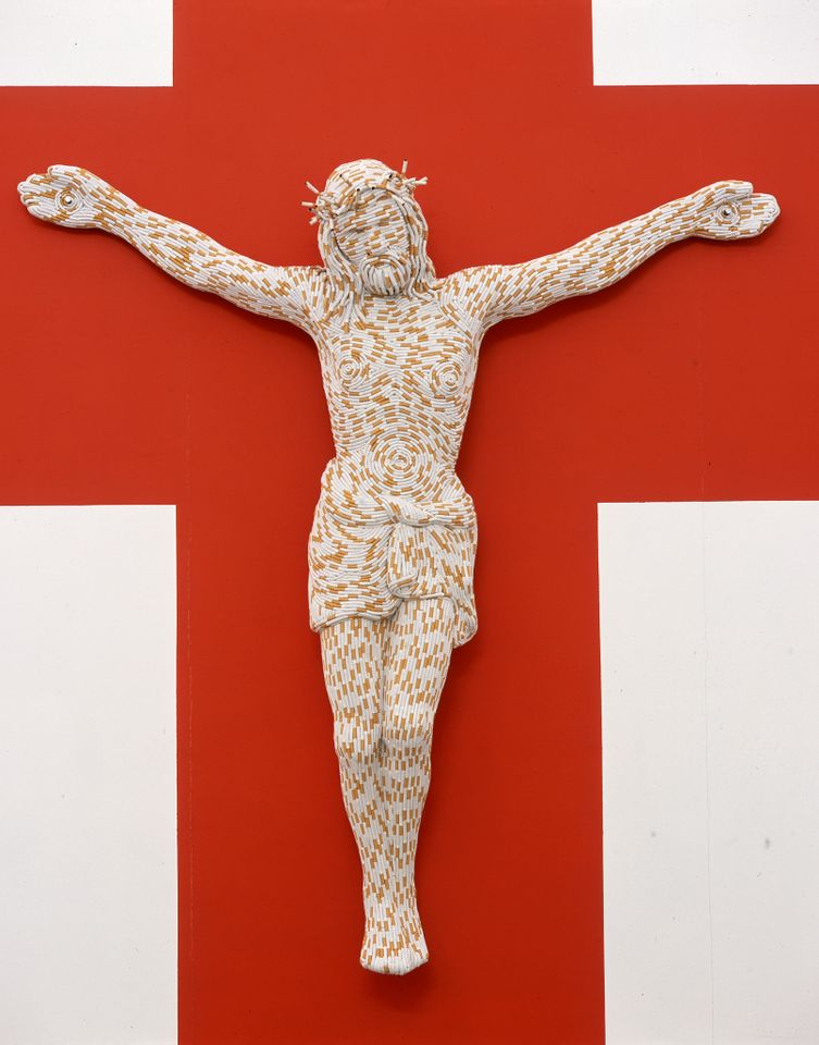 Sarah Lucas, Christ You Know It Ain't Easy, 2003. Fiberglass and cigarettes, 77 x 72 x 16 in (195.6 x 182.9 x 40.6 cm).