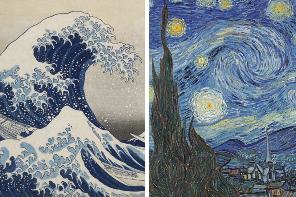 Left: Katsushika Hokusai, The Great Wave, about 1831. Right: Van Gogh, Starry Night, June 1889