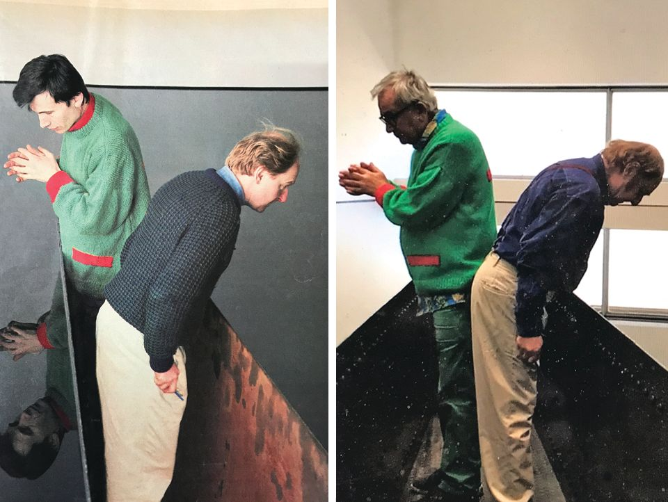 Left: Matt's Gallery director Robin Klassnik and the artist Richard Wilson looking at the first iteration of 20:50 in 1987; and right: the pair looking at the latest installation of the work at the Hayward gallery on 24 September