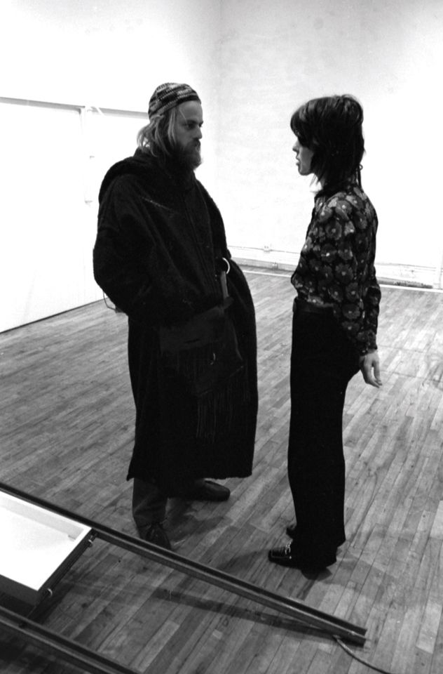 Paula Cooper talks to a visitor in her New York gallery in 1971
