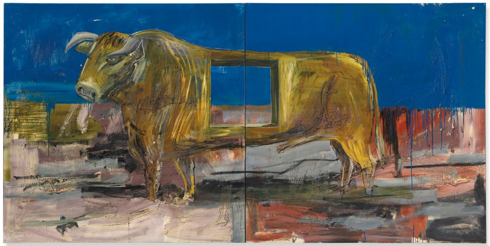 Albert Oehlen's Stier mit loch (Bull with hole)