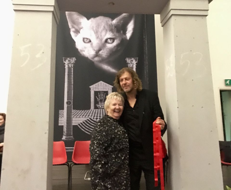 Mary Brennan with Martin Eder and a creepy kitty