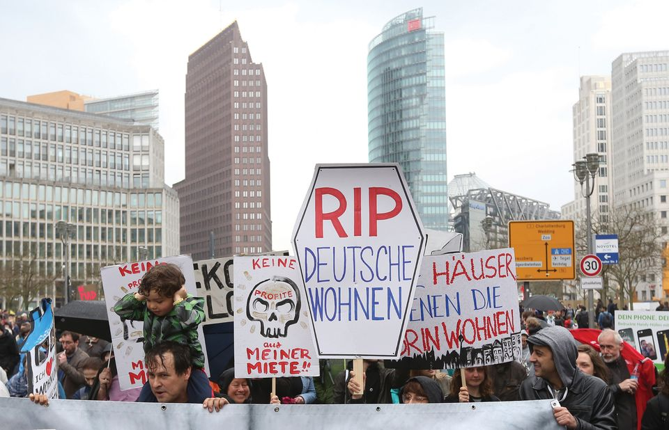 Local residents stage a protest in Berlin