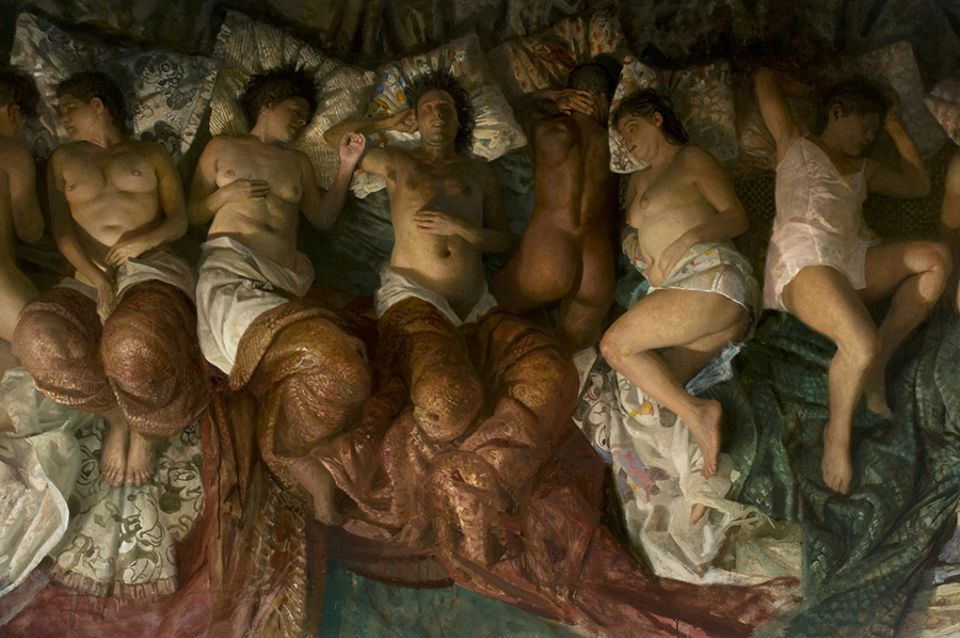 Vincent Desiderio, Sleep (detail; 2008), which inspired Kanye West's Famous video
