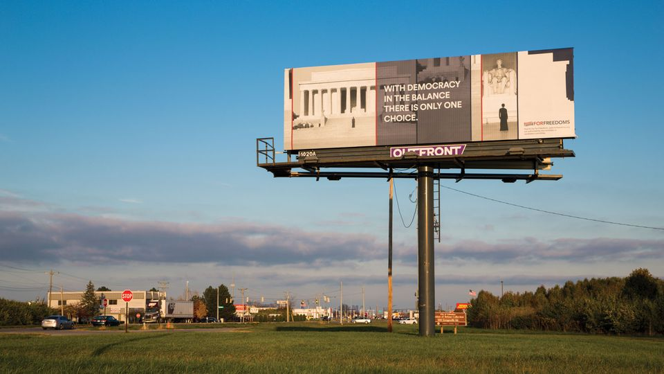 Carrie Mae Weems X For Freedoms billboard in Columbus, Ohio, a swing state