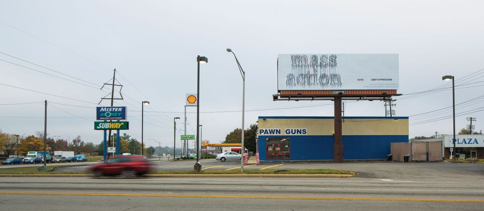 Nari Ward's For Freedoms billboard in Lexington, Kentucky