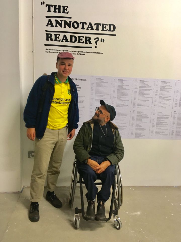 The contemporary art critic and editor Jonathan P Watts (left) and the artist Ryan Gander (right) in The Annotated Reader
