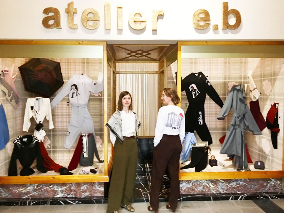 Atelier E.B is the name under which the designer Beca Lipscombe and the artist Lucy McKenzie sign their collaborative projects