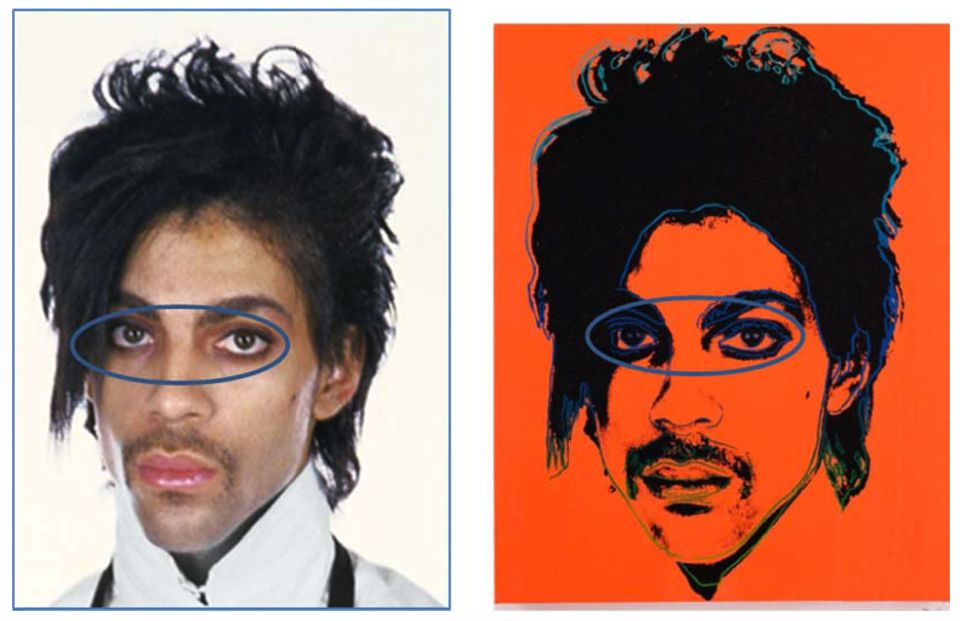 In its court filings, the Warhol Foundation points to differences between Goldsmith's photograph of Prince (left) and Warhol's portrait, including substantially heavier make-up around the eyes