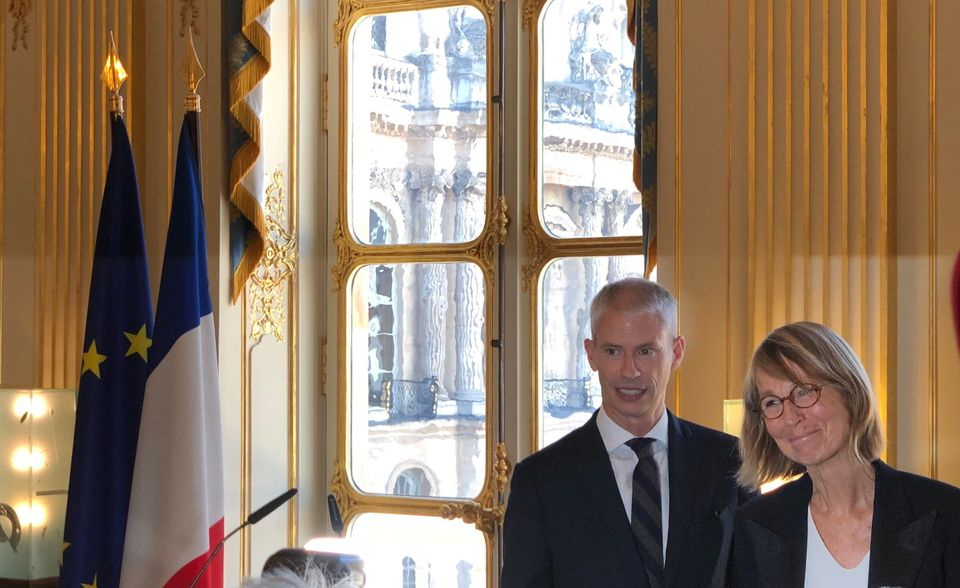Franck Riester (left) is in as culture minister, while Françoise Nyssen (right) heads out