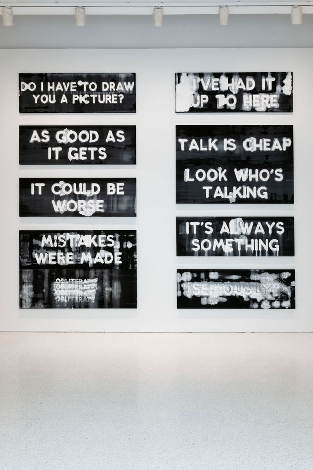 Installation view of Mel Bochner's text painting at the 57th Carnegie International