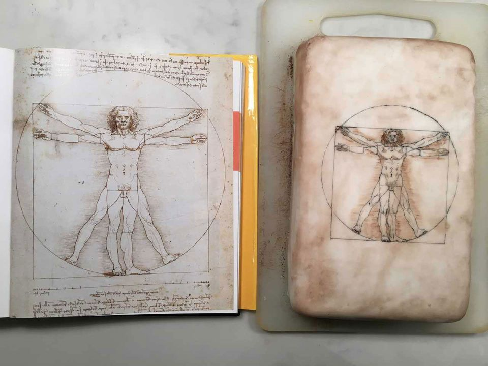 Sophie (tweeted by her husband Andrew Shore) made a cake depicting Da Vinci's Vetruvian Man
