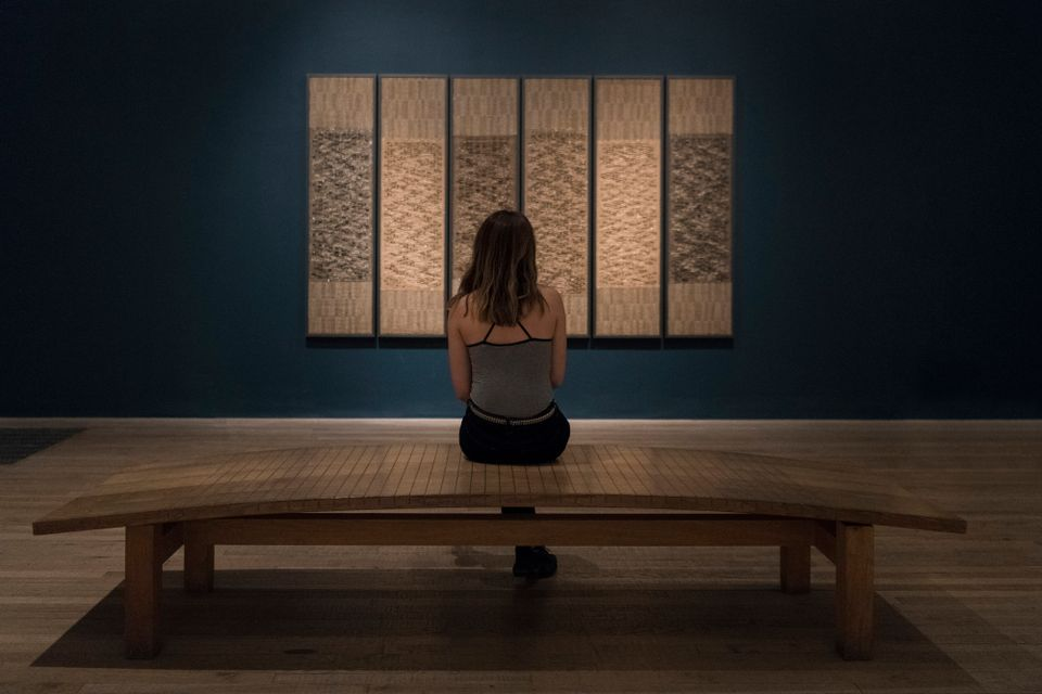 An installation view of Anni Albers's Six Prayers at Tate Modern