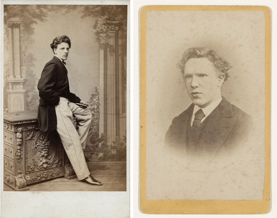 Left: Charles Obach, photograph by Paul Stabler, Sunderland, 1870s, National Portrait Gallery, London (Ax17174). Right: Vincent van Gogh, photograph by Jacobus de Louw, The Hague, January 1873, Van Gogh Museum, Amsterdam (Vincent van Gogh Foundation) (b4784)