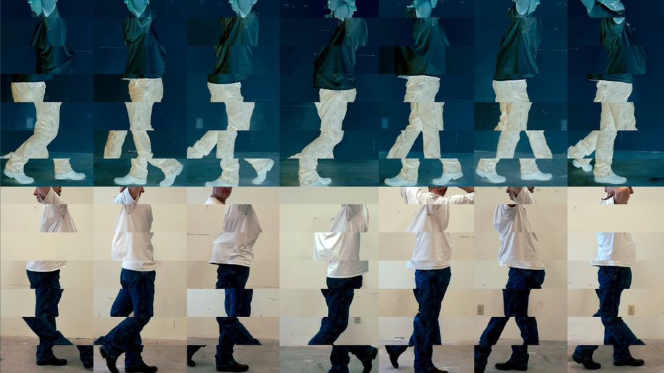 Bruce Nauman. Contrapposto Studies, i through vii. 2015/16. Seven-channel video (color, sound, continuous duration), dimensions variable. The Museum of Modern Art, New York. Jointly owned by The Museum of Modern Art, New York, acquired in part through the generosity of Agnes Gund and Jo Carole and Ronald S. Lauder; and Emanuel Hoffmann Foundation, on permanent loan to Öffentliche Kunstsammlung Basel