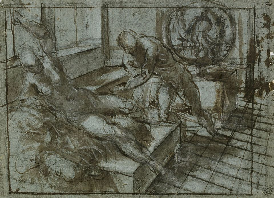 Tintoretto (1518/19–1594), Venus and Vulcan, (around 1545), black chalk, pen and brown ink with brown and gray wash,