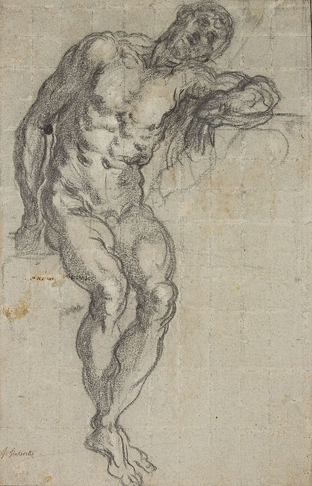 Tintoretto (1518/19–1594), Seated Male Nude, ca. 1549. Black and white chalk, squared, on blue paper.