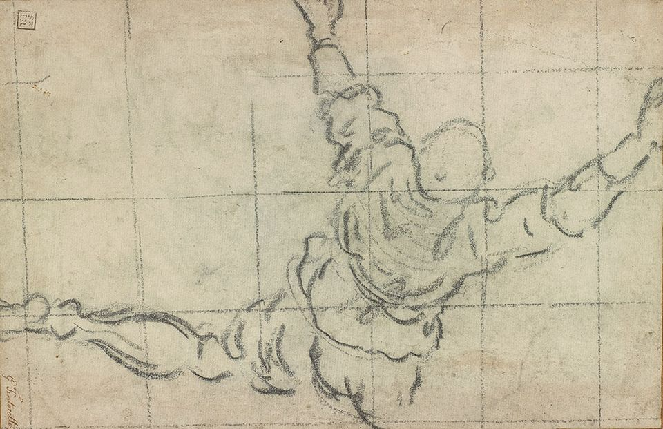Tintoretto (1518/19–1594), Study for a Man Climbing into a Boat (recto), 1578–79, charcoal, squared in charcoal.