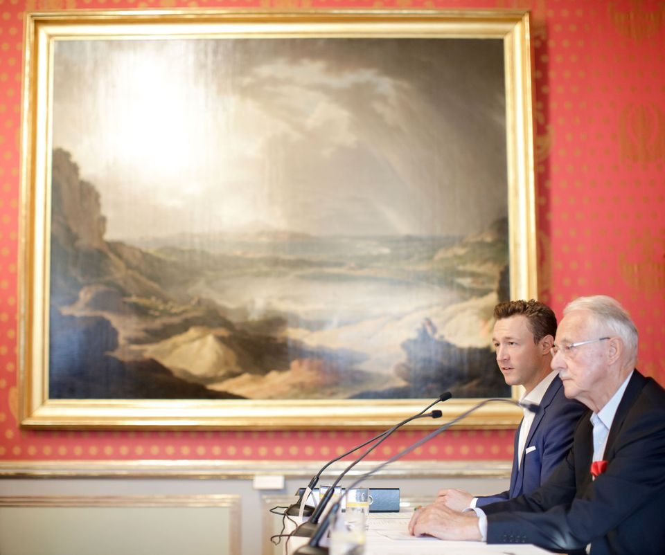 Karlheinz Essl, founder of the Baumax chain of DIY shops, at the press conference at the Albertina