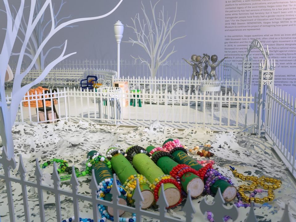 A view of some of the artists' models inside a scale model of Christopher Park at the New Museum