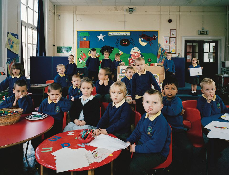 This photograph of a class at Deneside Infants School, Seaham, UK, is part of Julian Germain's school project