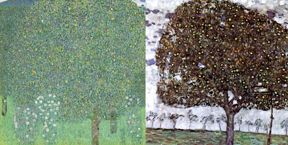 Klimt's Roses under Trees (1905, left), in the Musée d'Orsay, was apparently confused with Apple Tree II (1916, right)